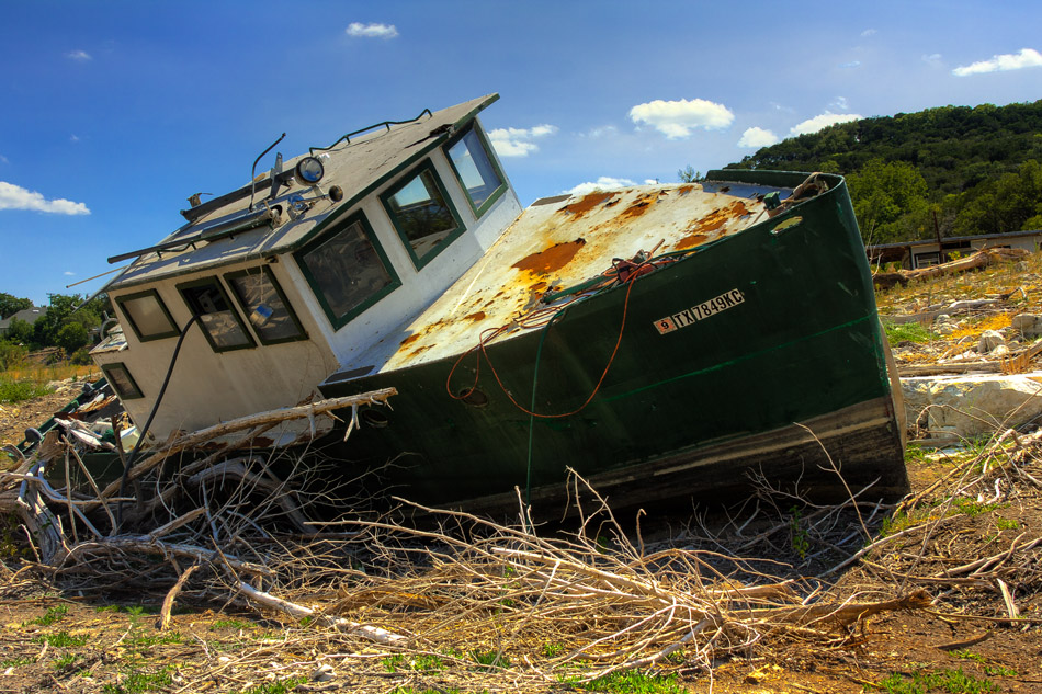 A boat sits on dry land in Texas