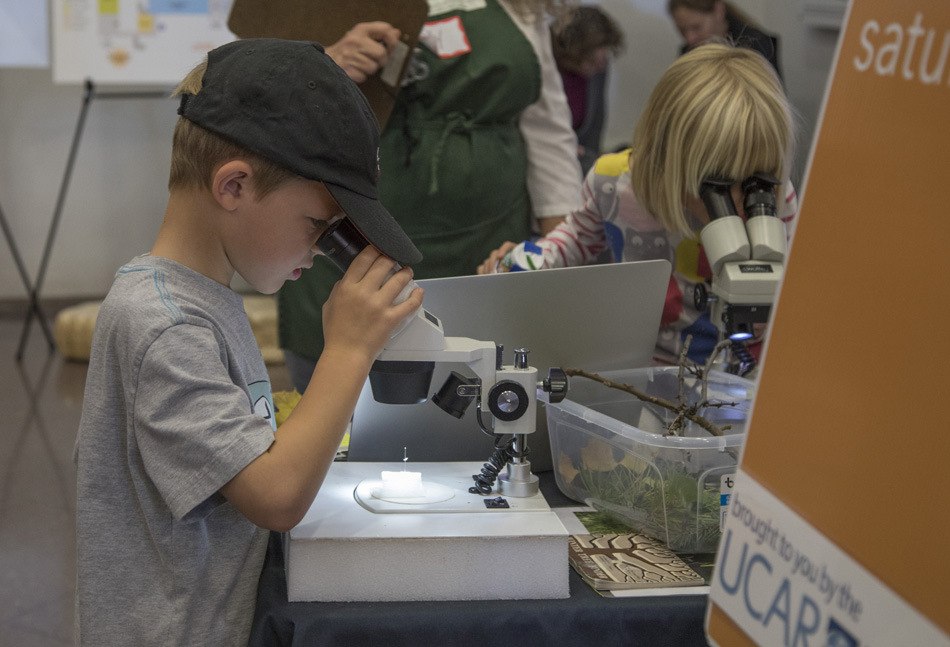 A child looks through a microscope