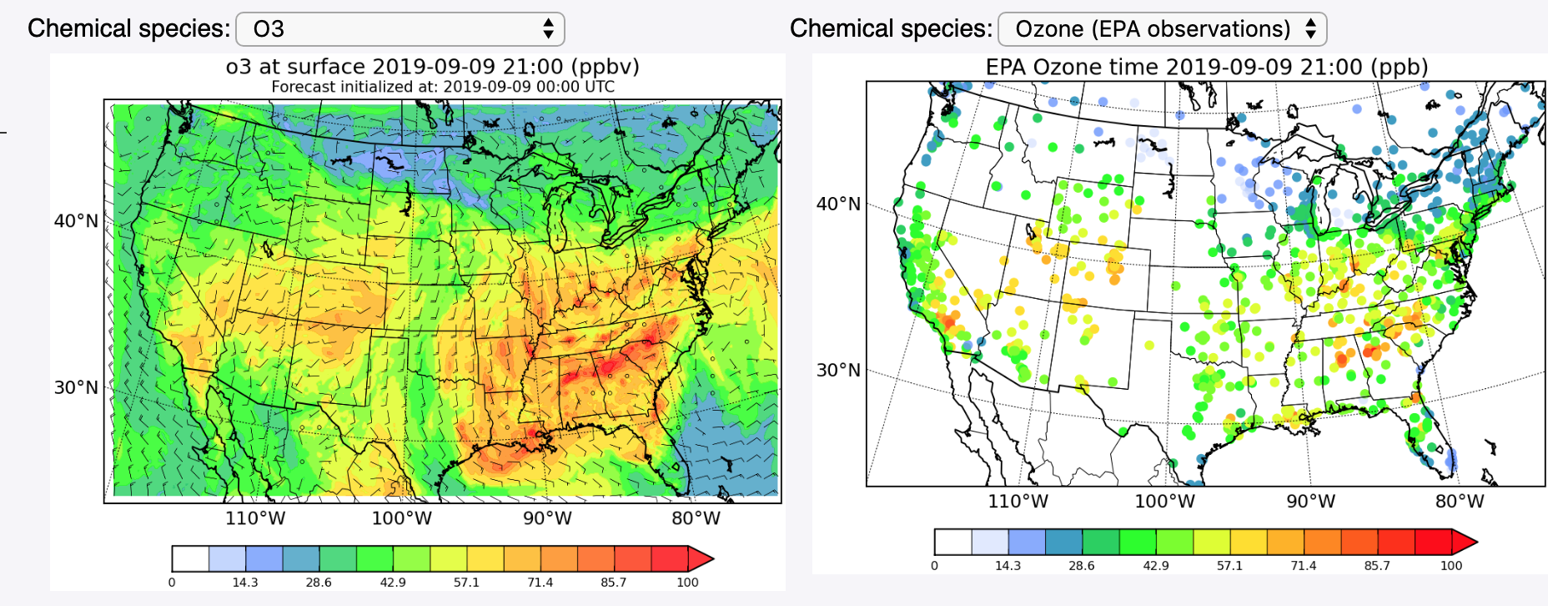 Air quality maps showing forecasts and observations of ground-level ozone levels across the US