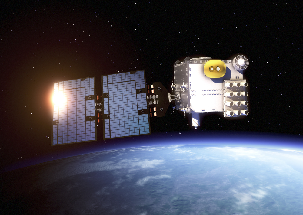 An artist's rendering of a COSMIC-2 satellite.