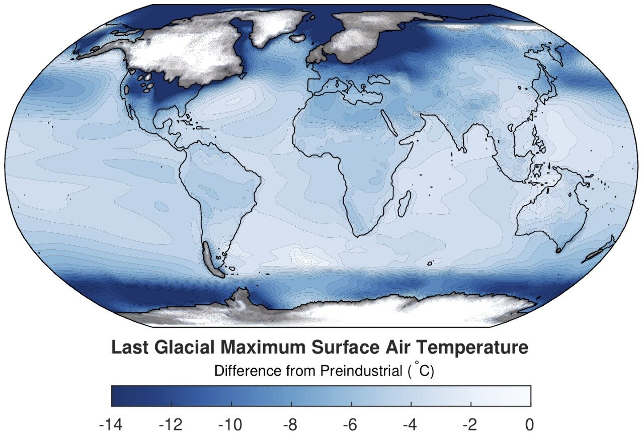 Map of global ice age temperatures.