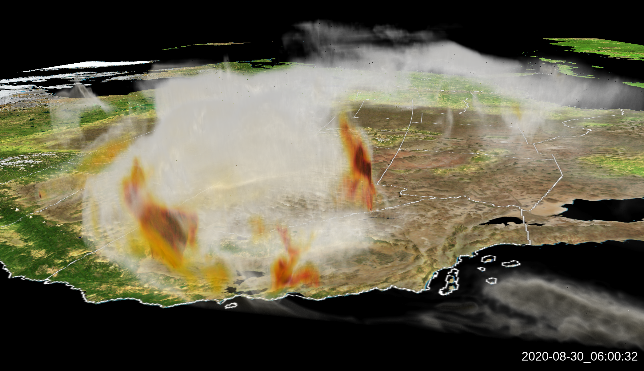 A visualization of smoke over California