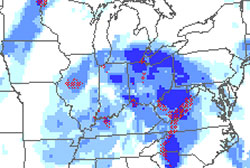 Map of upper Midwest with dark blue areas of potentially severe icing