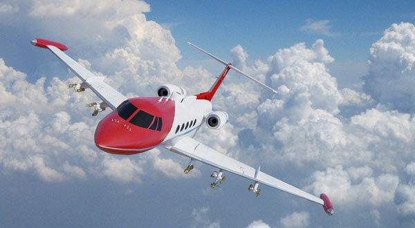 Gulfstream II research jet flying near clouds