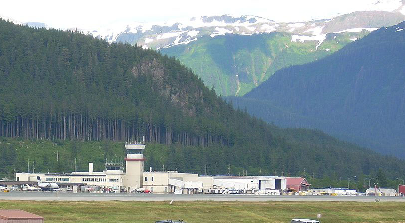 Juneau Airport, with high mountains in background