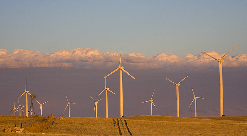 Wind turbines in northeast Colorado