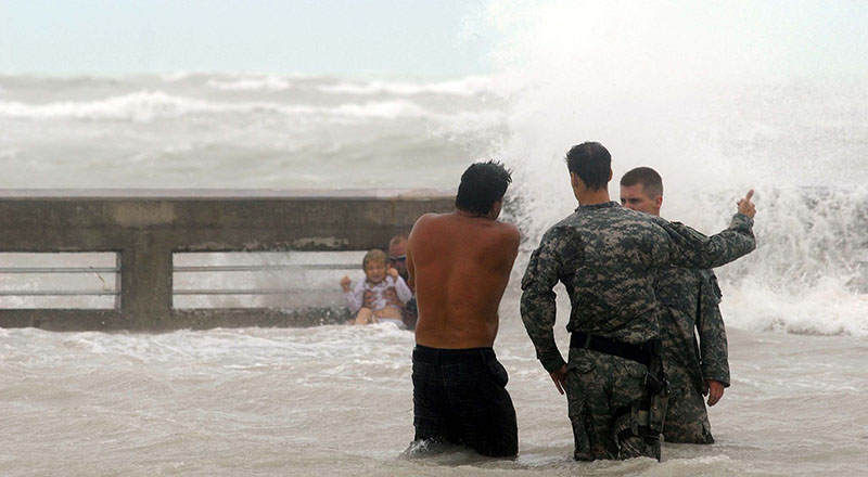 National Guard monitors Key West beach as Hurricane Ike approaches, 9/9/08