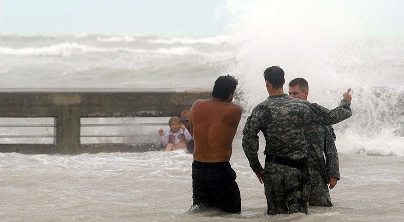 National Guard monitors Key West beach as Hurricane Ike approaches, 9/9/08