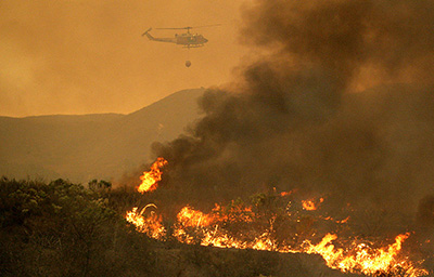 A fire burns on Camp Pendleton, California