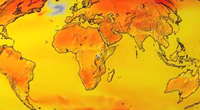 Depiction of global temperature increase from Community Earth System Model