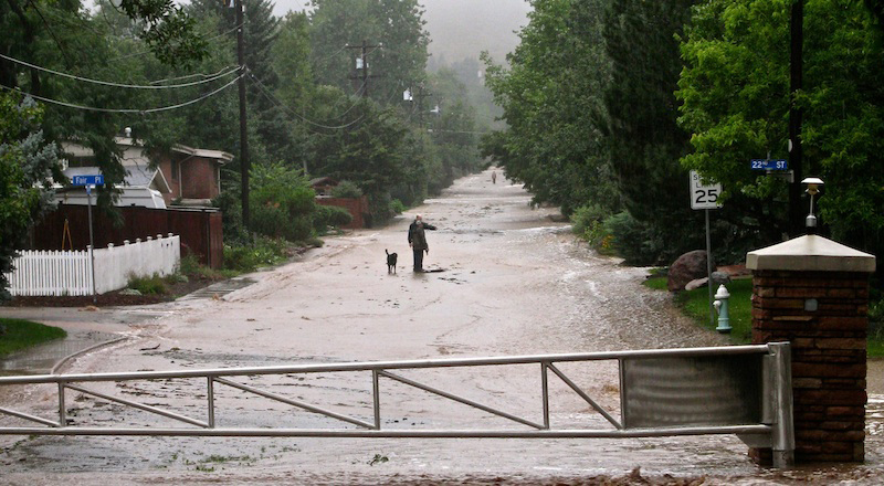 flood waters in south Boulder, Colorado, September 12, 2013