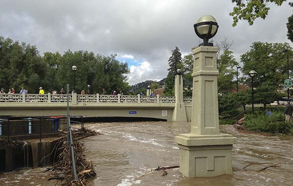bicycle path channels floodwaters during 2013 storm, Boulder, CO