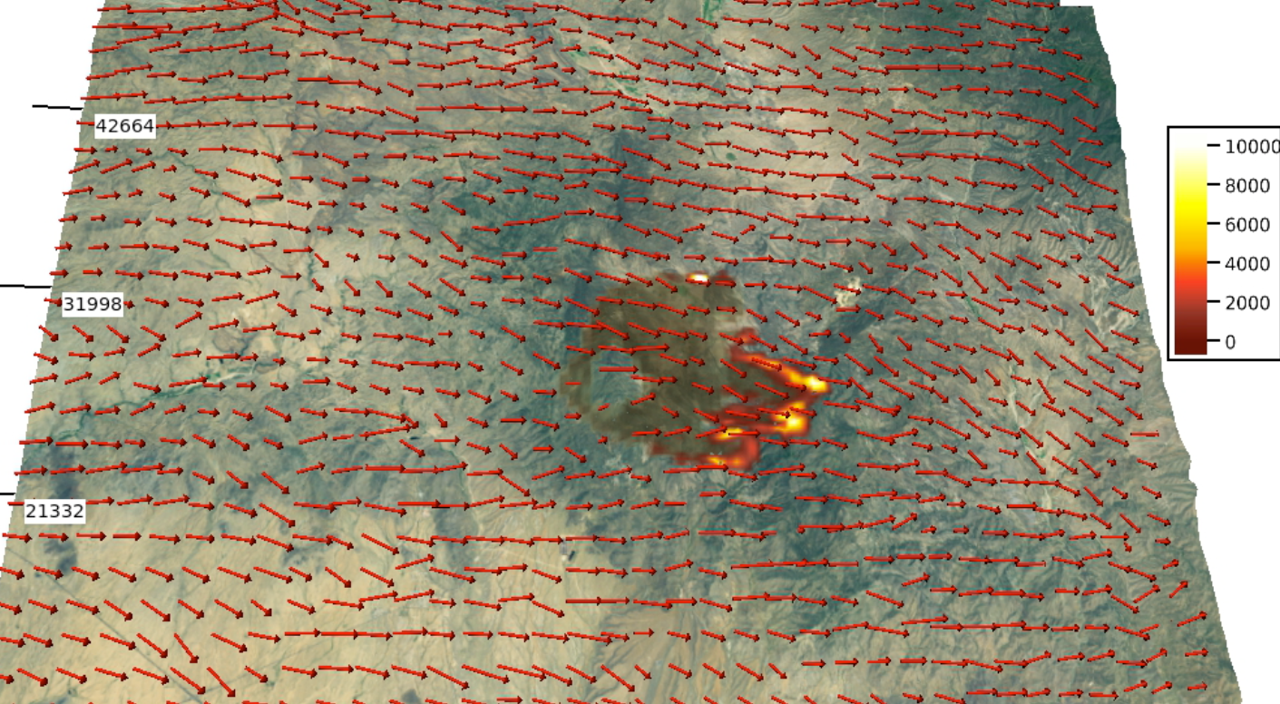 Still from computer model visualization of wildfire
