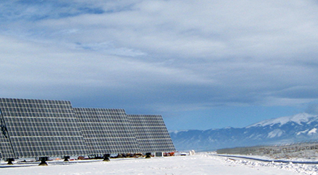 NCAR solar energy Sun4Cast system - photo: solar panels in Colorado's San Luis Valley
