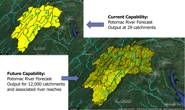 Image compares lower resolution of current model to higher resolution of WRF-Hydro
