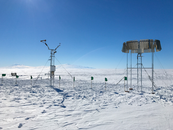 A precipitation measuring station in Antarctica