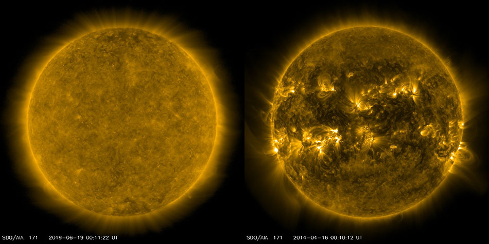 Images of the Sun in the current solar minimum and also in the last solar maximum.
