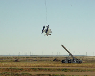 Equipment that is being carried by ballon at take off