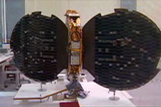 Photograph of satellite with solar panels