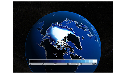 Visualization of Earth from space, showing polar ice cap