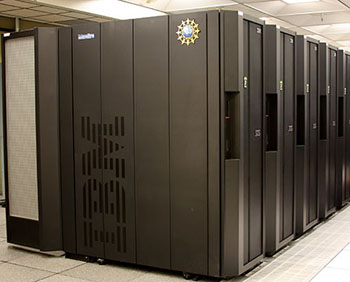 Photograph of a large, super computer, black with IBM on side