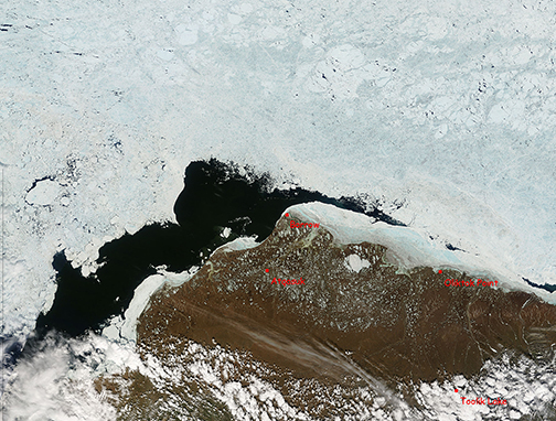 Satellite image of sea ice, land, and water
