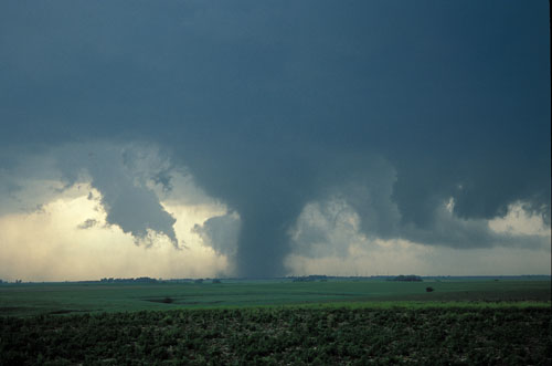 Photograph of a tornado touching down on farmland