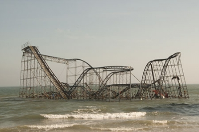 Hurricane Sandy storm surge-wreckag of NJ roller coaster amidst the waves