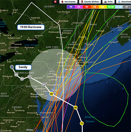 Hurricane tracks within 200 nm of New York City