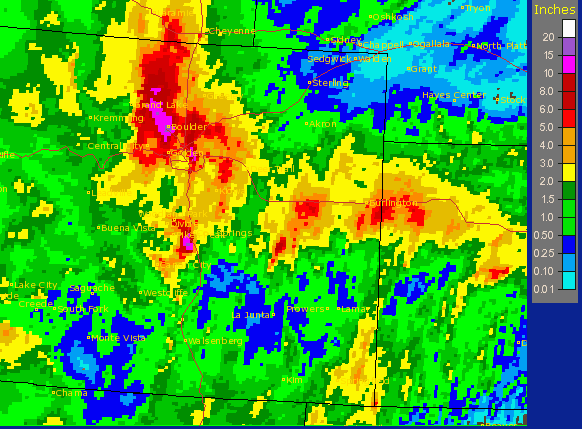 Map of rainfall totals across eastern Colorado, Sept. 6-13, 2013