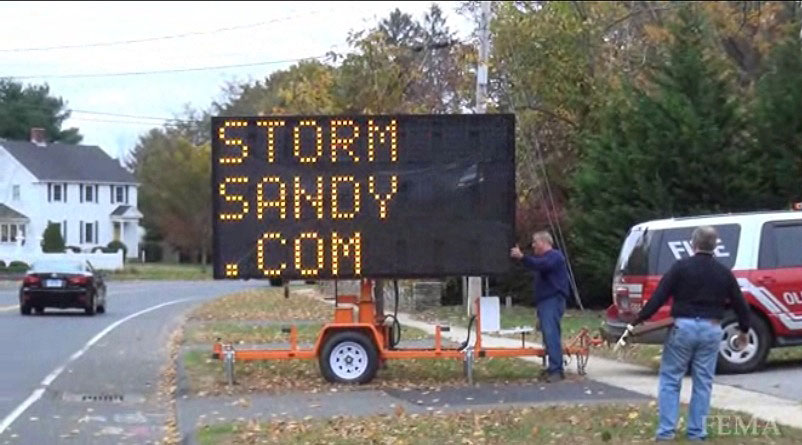 Evacuation message in Old Saybrook, CT, preceding Hurricane Sandy, 10/27/12