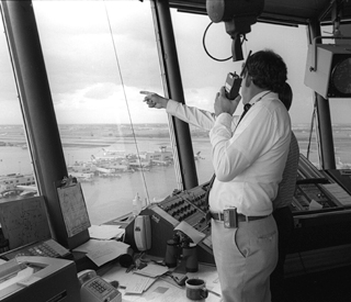John McCarthy at control tower during CLAWS project, 1984-85
