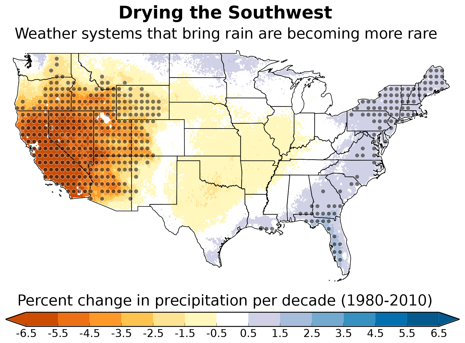Southwest dries as wet weather systems become more rare