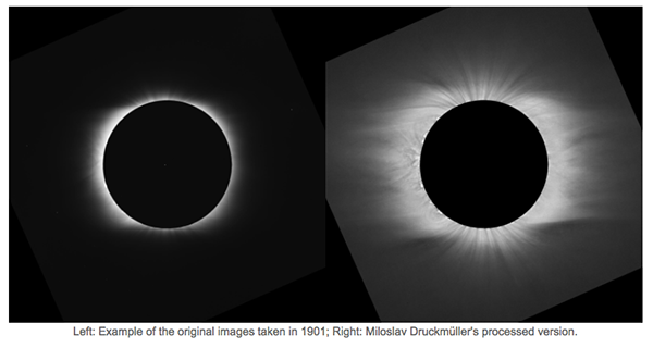 HAO eclipse gallery: side-by-side pre- and post-processed images, 1901 eclipse