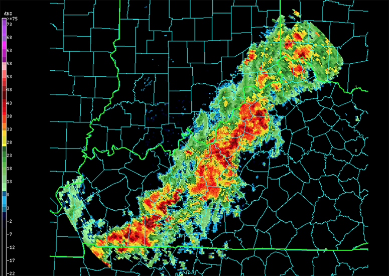 NEXRAD2 image of squall line