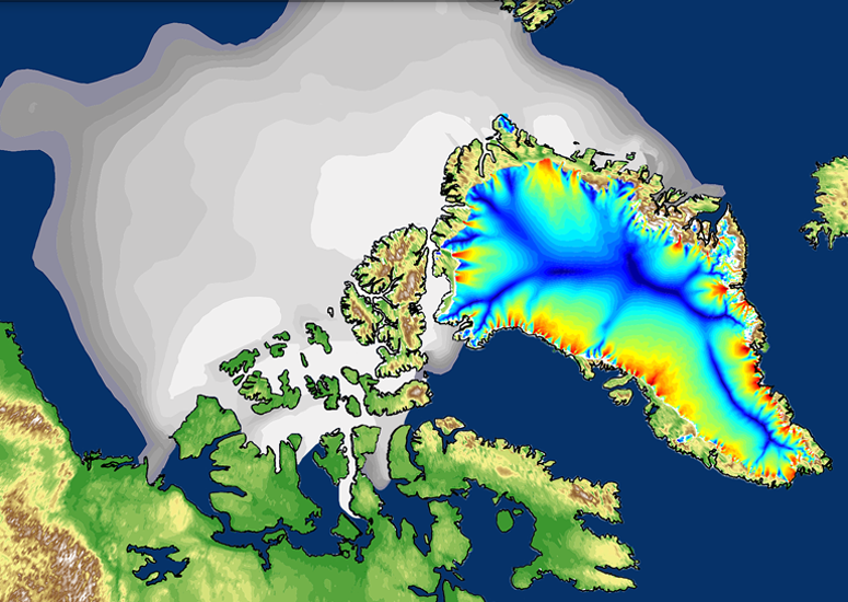 Image of Arctic ice simulated by CESM2