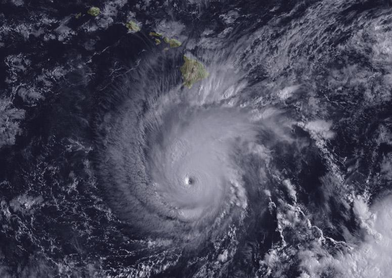 A satellite image of Hurricane Lane provided by NOAA