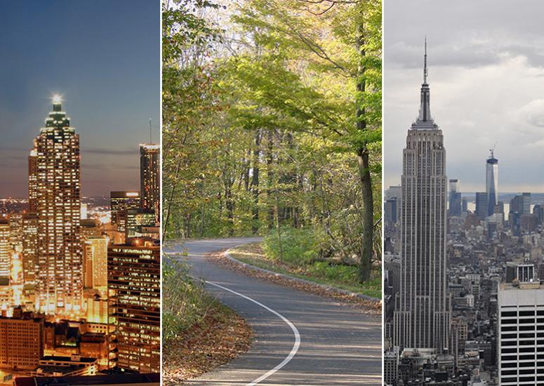 Montage of outdoor scenes from Atlanta, a Michigan forest, and New York City