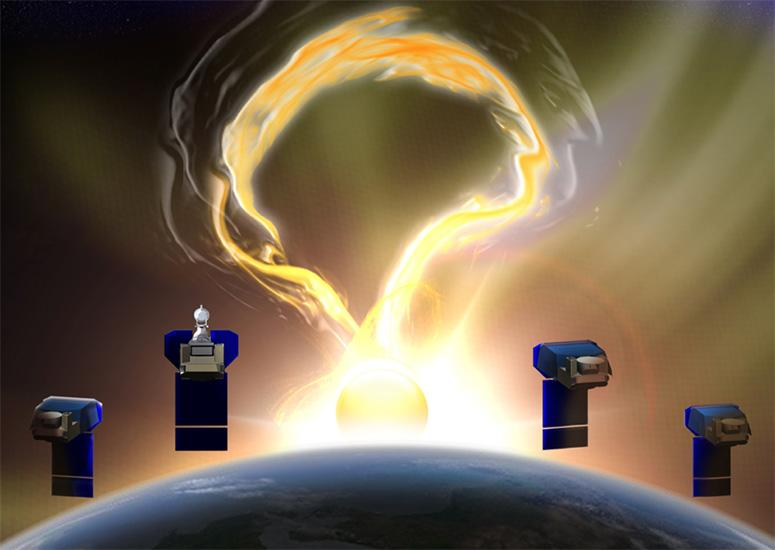 An illustration of four microsatellites observing the Sun