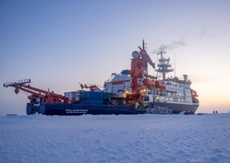 The Polarstern frozen in Arctic sea ice.