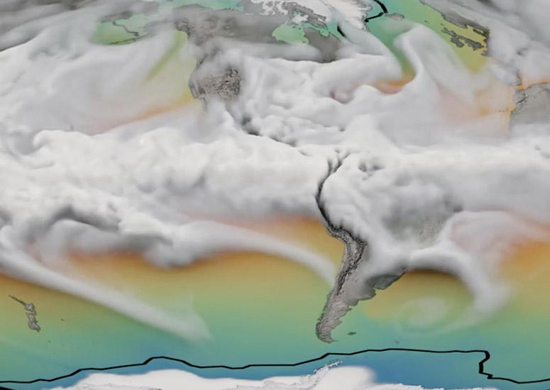 A CESM simulation of clouds