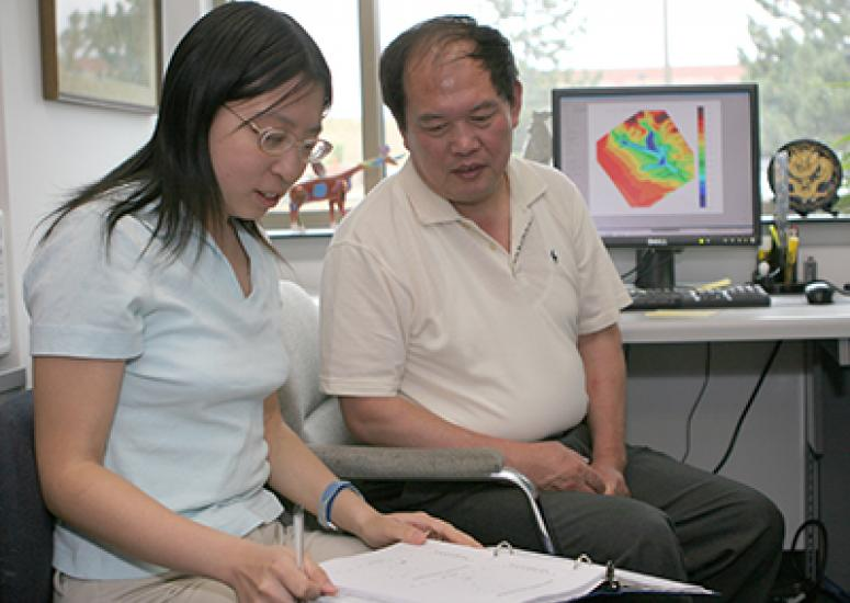Photograph of Julien Wang and her NCAR mentor