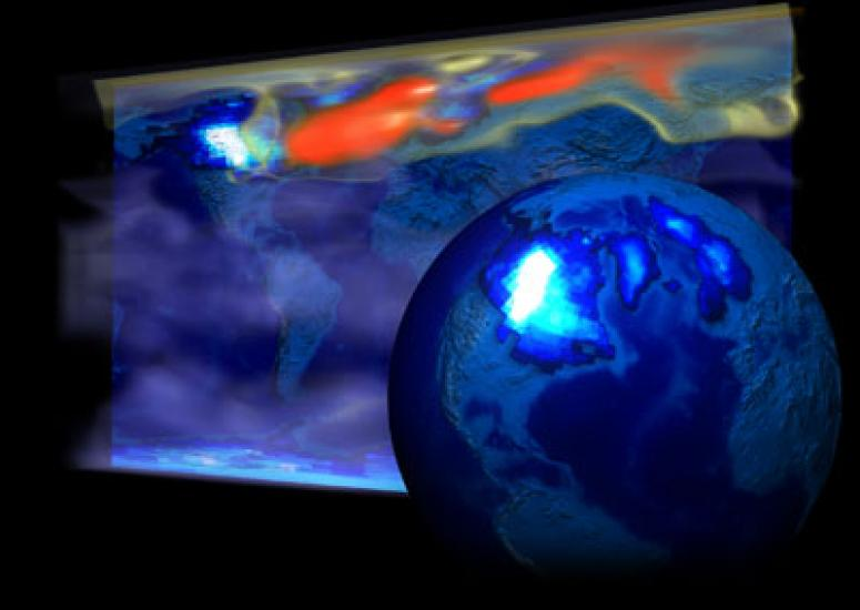 Image of Earth showing temperature increases, researched by TraCE-21000 project