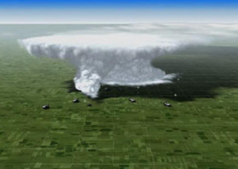 still from animation of tornado visualization