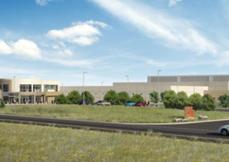 Architect's rendering of the approach to the NCAR Wyoming Supercomputing Center.