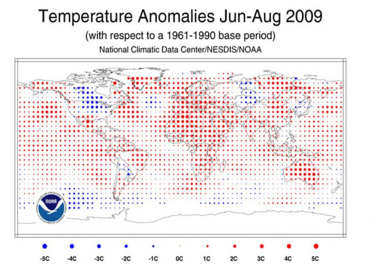 Temperature anomalies, Jul-Aug 2009, from NOAA/NCDC