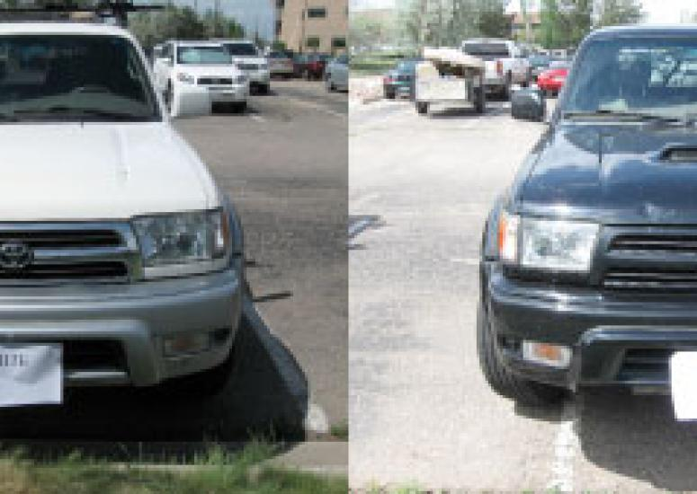 A side-by-side composite photo of a white truck and a dark truck.