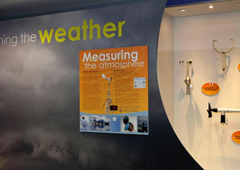 "Display of anemometers as part of NCAR's new ""Watching the Weather"" exhibit"