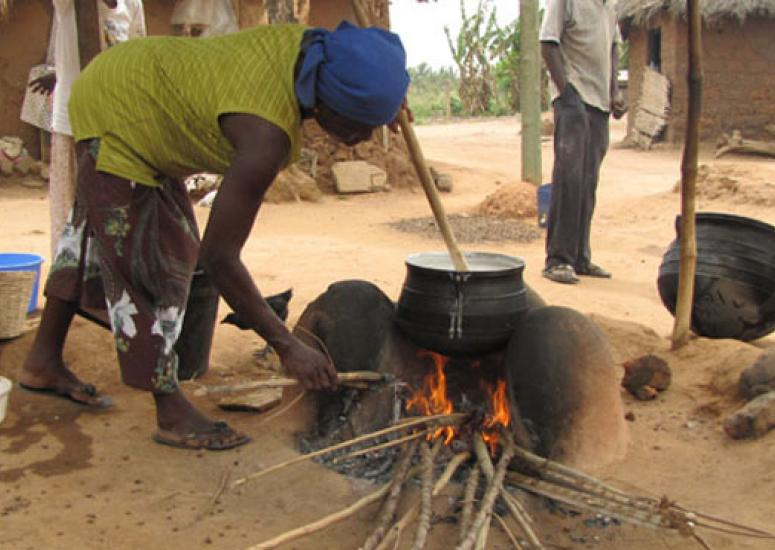 Cooking over an open fire in Ghana.