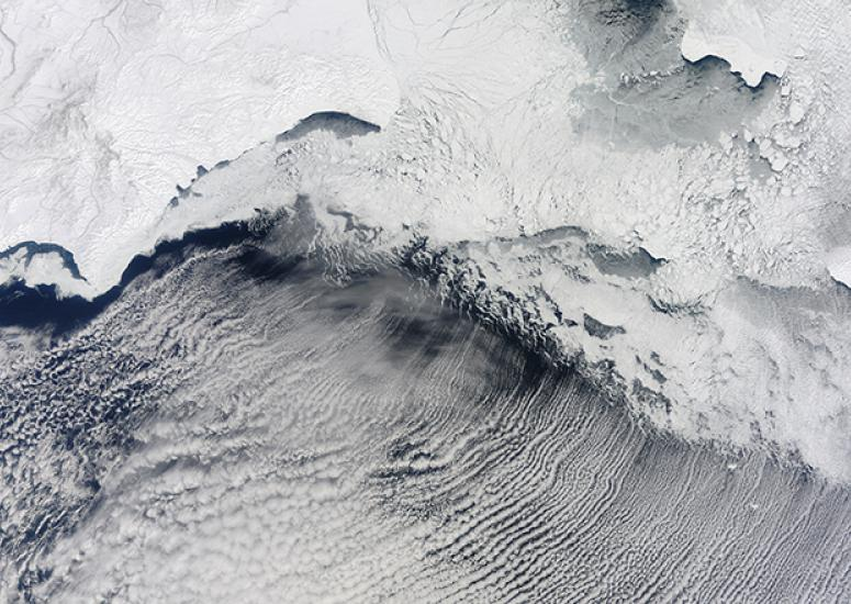 Cloud streets above Bering Sea off south coast of Alaska, 4/7/13